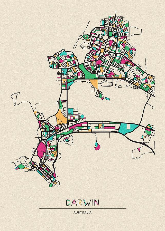 Darwin Drawing - Darwin, Northern Territory City Map by Inspirowl Design