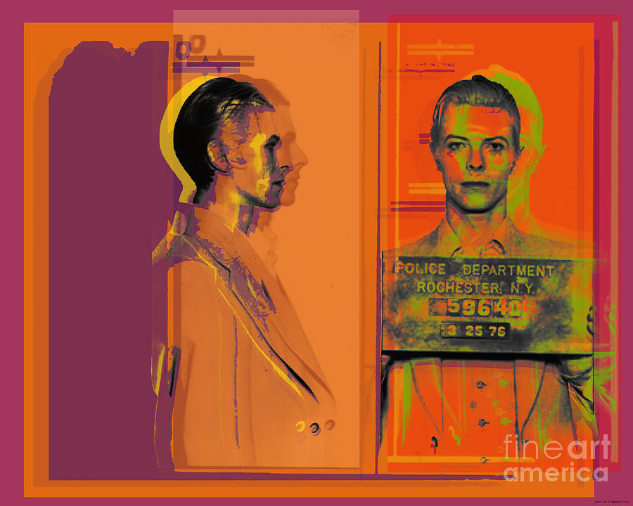 David Bowie mugshot Pop Art Warhol style by Jean luc Comperat
