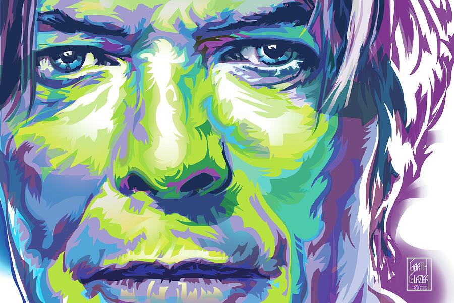David Bowie Digital Art - David Bowie Portrait In Aqua And Green by Garth Glazier
