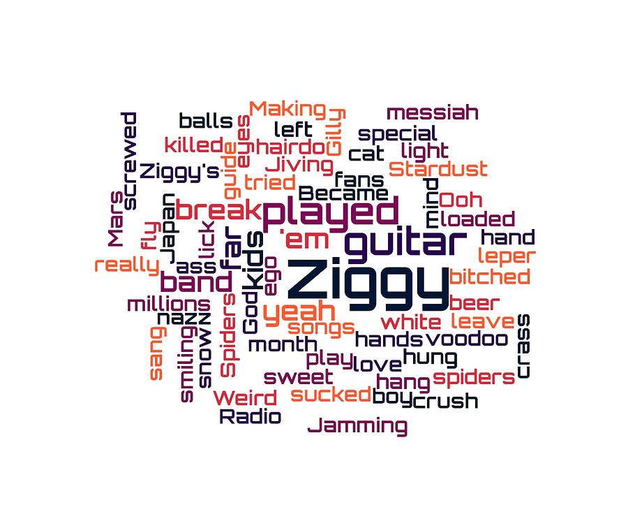 cc7f70ebe David Bowie - Ziggy Stardust Lyrical Cloud Digital Art by Susan ...
