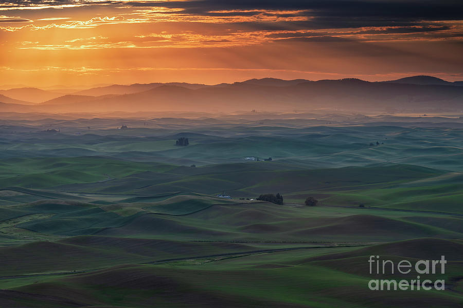 Dawn Rays over the Palouse by Mike Dawson