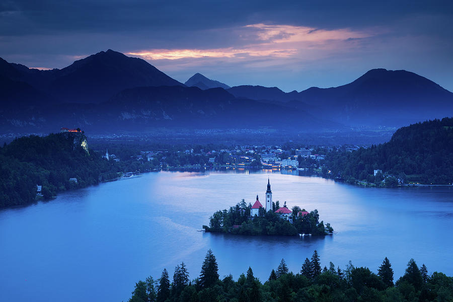 Dawn view of Lake Bled from Ojstrica by Ian Middleton