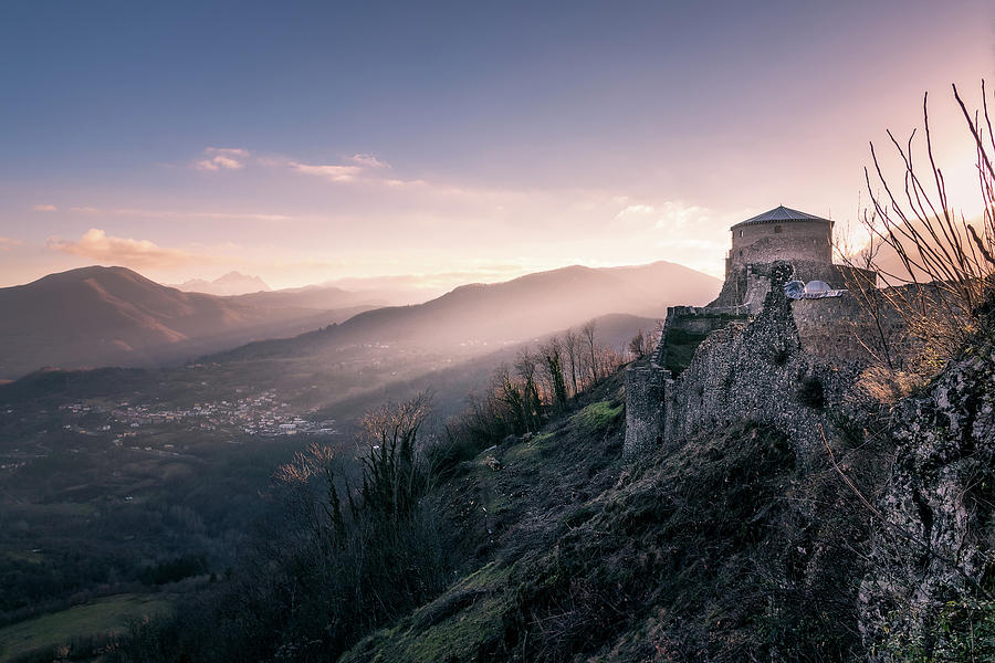 Dawning fortress - the famous Fortress of Verrcuole in Tuscany at dawn by Matteo Viviani