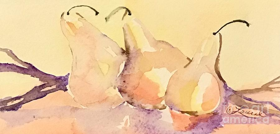 Pears Painting - Dawns Early Light by Laurel Adams