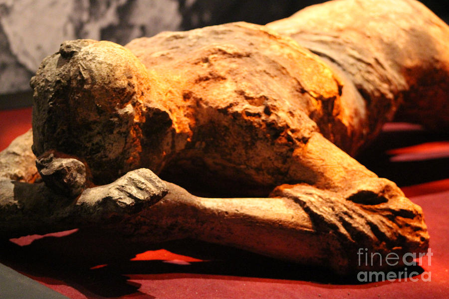 Boy Photograph - Day In The Life of Pompeii Exhibit Figure Laying Hiding Face by Colleen Cornelius