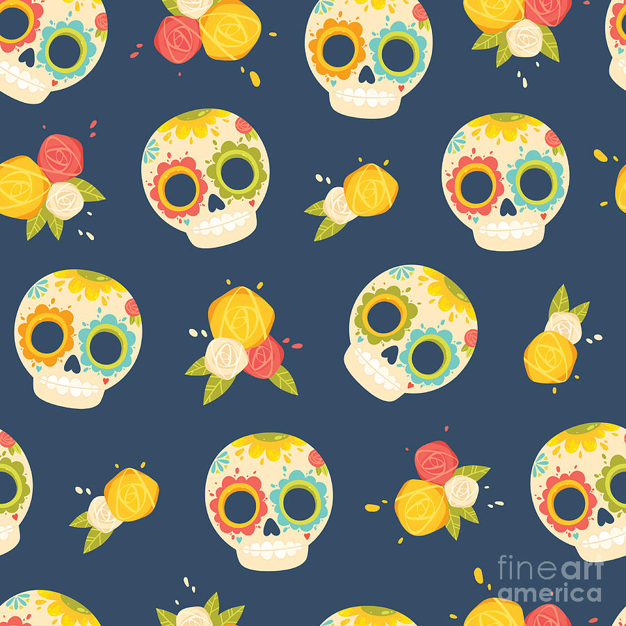Symbol Digital Art - Day Of The Dead Colorful Vector by Orangemilk