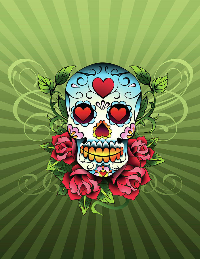 Day Of The Dead Skull Digital Art by New Vision Technologies Inc