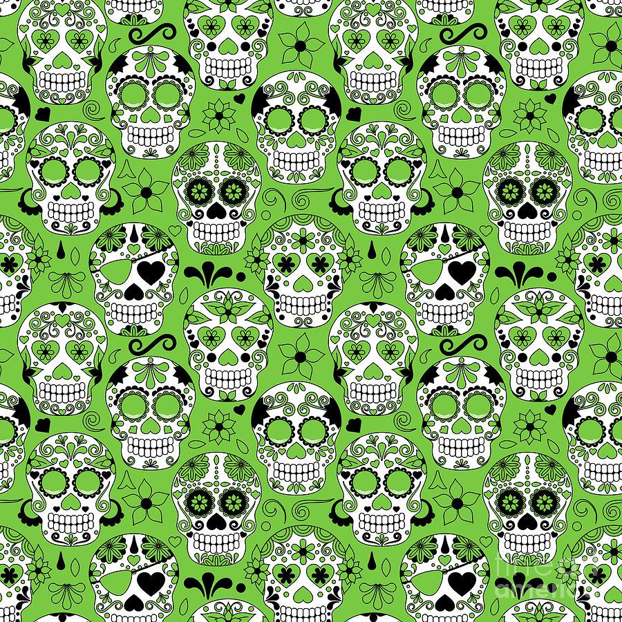 De Digital Art - Day Of The Dead Sugar Skull Seamless by Pinkpueblo