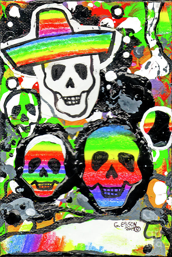 Day Of The Dead Sugar Skulls With Sombrero by Genevieve Esson