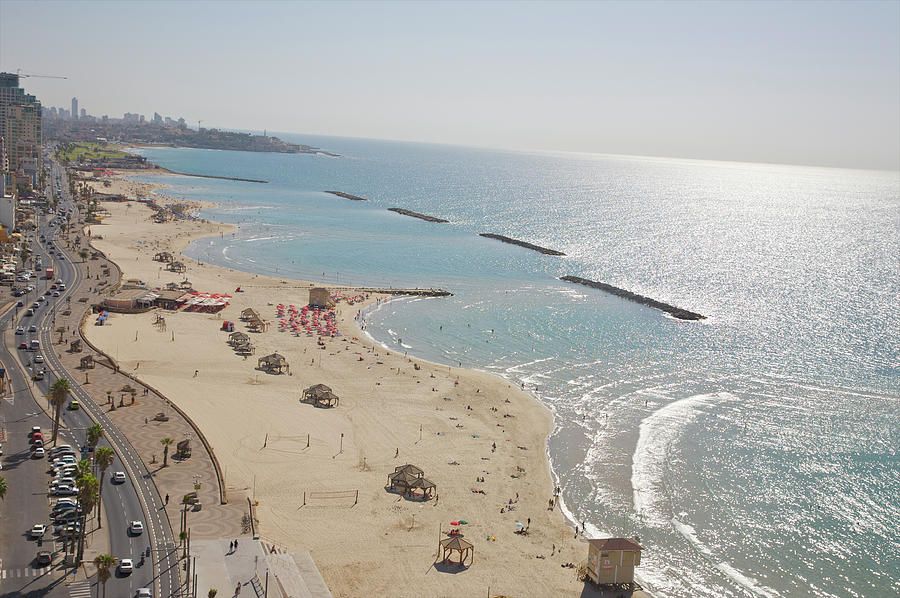 Day View Of Tel Aviv Promenade And Beach Photograph by Barry Winiker