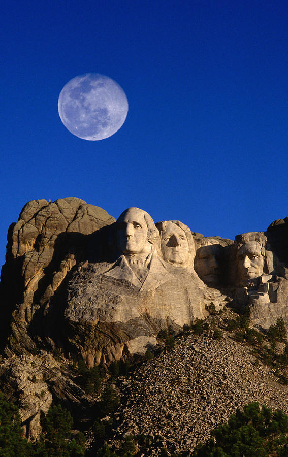 Daytime Moon Above Presidential Faces Photograph by Mark  Newman