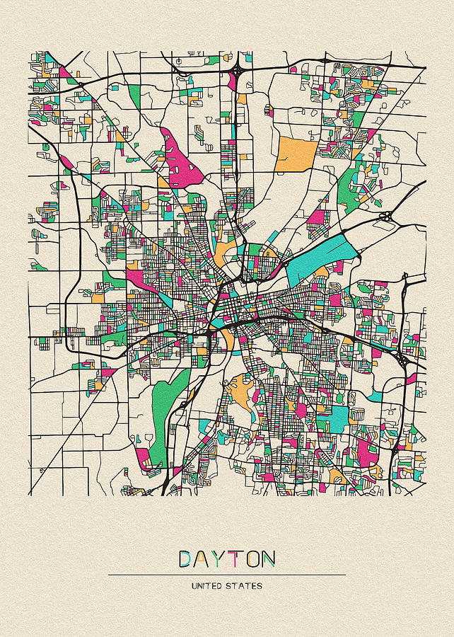 Dayton, Ohio City Map by Inspirowl Design