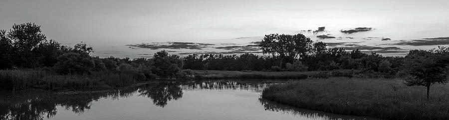 DDP DJD Wetland Sunset Pano Number Three B and W by David Drew