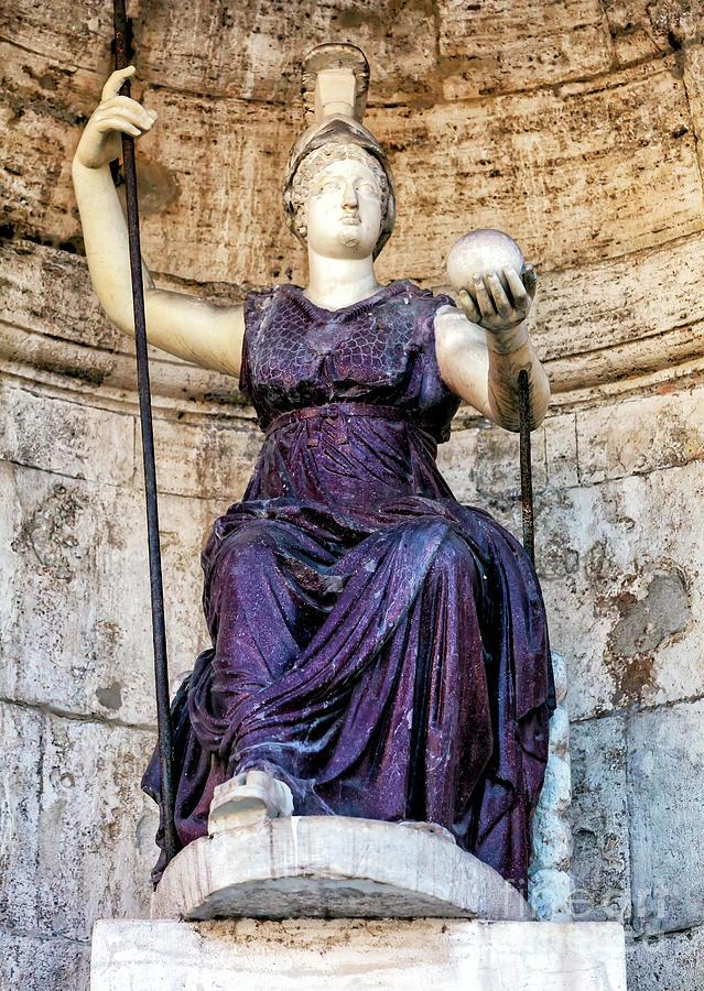 Piazza Del Campidoglio Photograph - Dea Roma at the Piazza del Campidoglio in Rome by John Rizzuto
