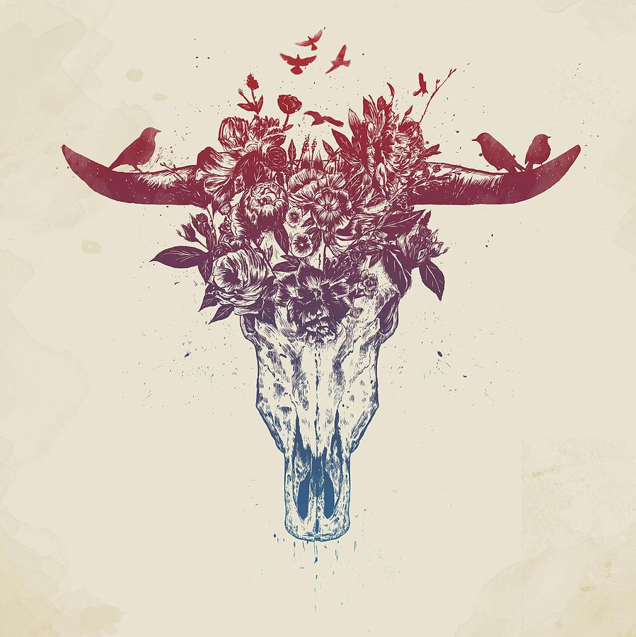 Bull Drawing - Dead summer by Balazs Solti