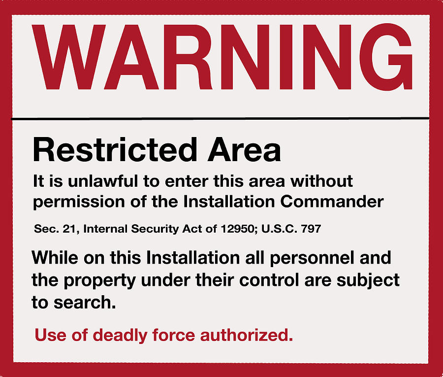 Deadly Force Warning Sign by Walter Chamberlain