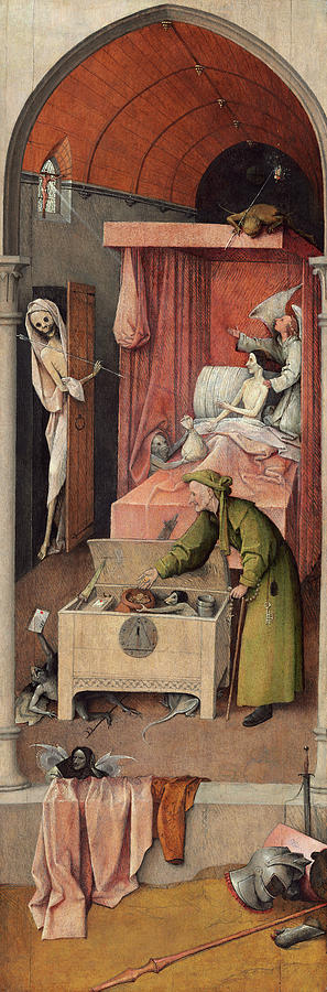 Hieronymus Bosch Painting - Death And The Miser, 1490 by Hieronymus Bosch