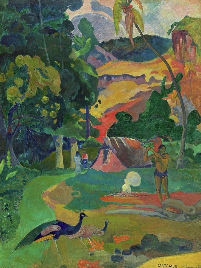Paul Gauguin Painting - Death, Landscape With Peacocks, 1892 by Paul Gauguin