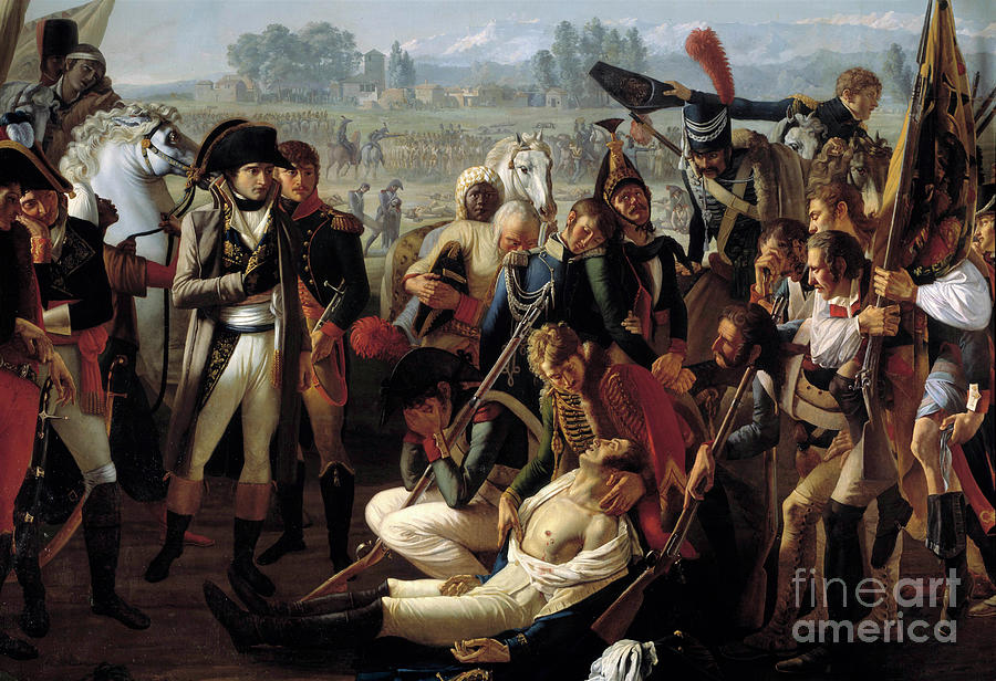 Military Painting - Death Of General Charles Antoine Desaix De Veygoux At The Battle Of Marengo by Jean Broc