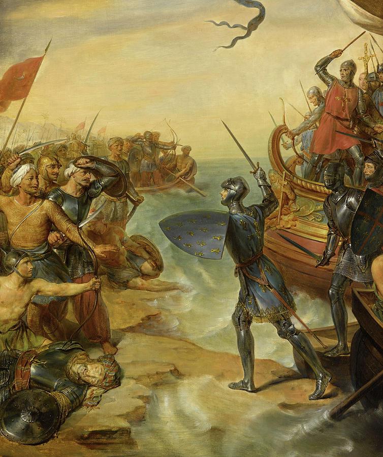 Siege Painting - Debarquement De Saint Louis, A Damiette En Egypte, 1249 by Georges Rouget