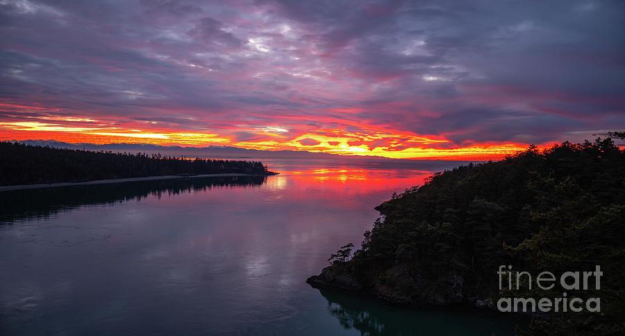 Washington Beaches Photograph - Deception Pass Sunset Landscape by Mike Reid