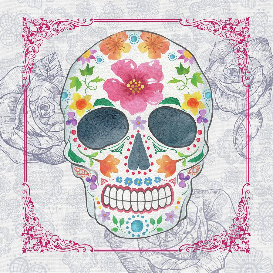 Sugar Skulls Mixed Media - Deco Skull by Fiona Stokes-gilbert