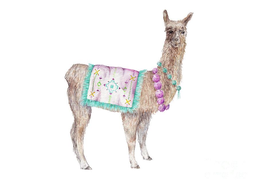 Alpaca Painting - Decorated Alpaca Watercolor by Wandering Laur