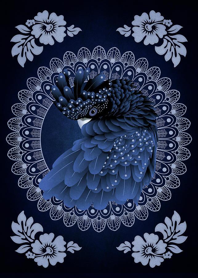 Decorative Australian Cockatoo in Blue by Debi Dalio