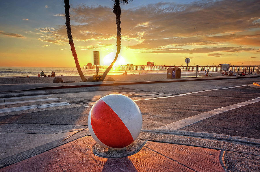 Decorative Beach Ball at Oceanside Pier by Ann Patterson