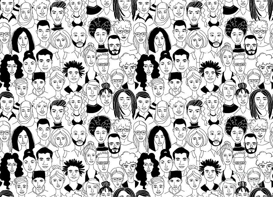 Decorative Diverse Womens Mens Head Digital Art by Sv sunny