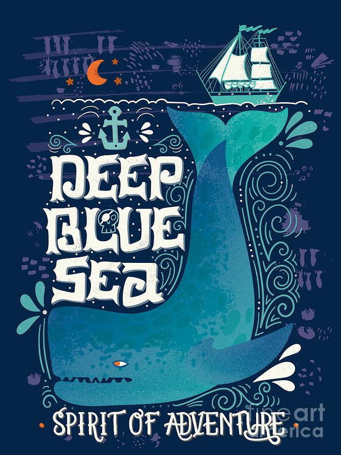 Symbol Digital Art - Deep Blue Sea. Hand Drawn Nautical by Julia Henze