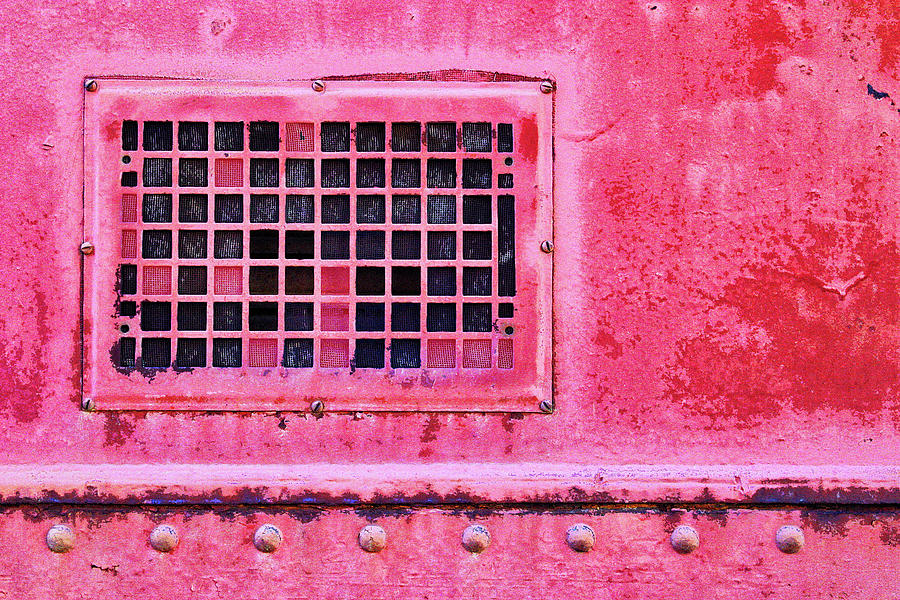Industrial Mixed Media - Deep Pink Train Engine Vent by Carol Leigh