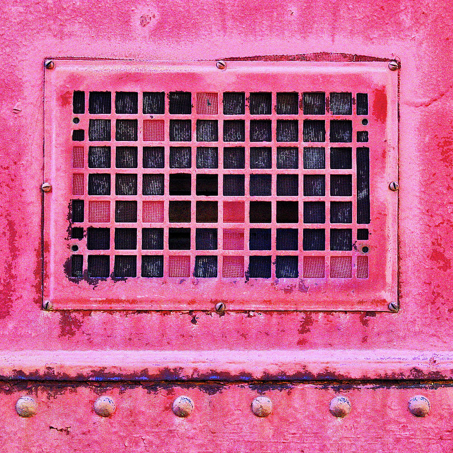 Industrial Mixed Media - Deep Pink Train Engine Vent Square Format by Carol Leigh