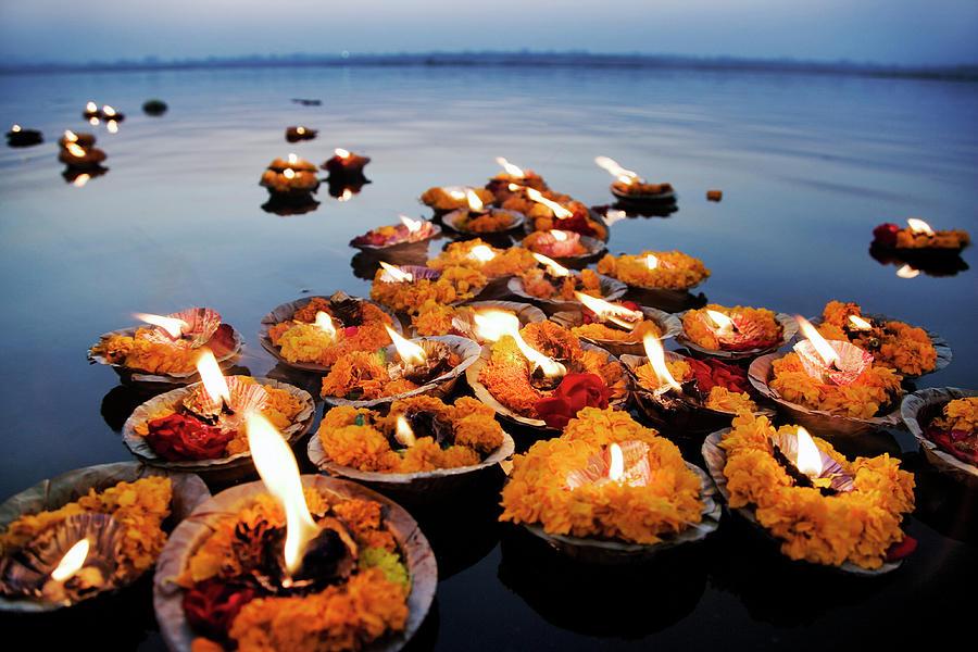 Deepak In The Ganges River. The Deepak Photograph by Martin Harvey