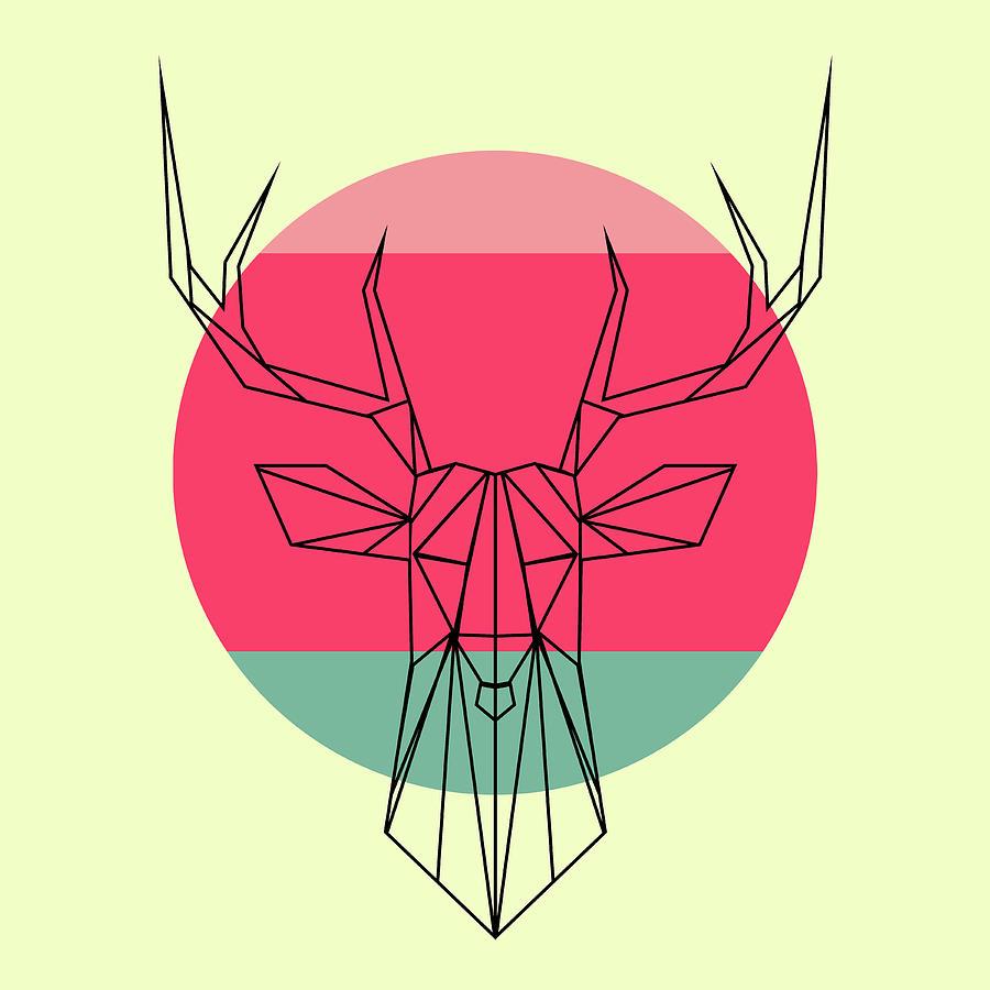 Deer Digital Art - Deer And Sunset by Naxart Studio