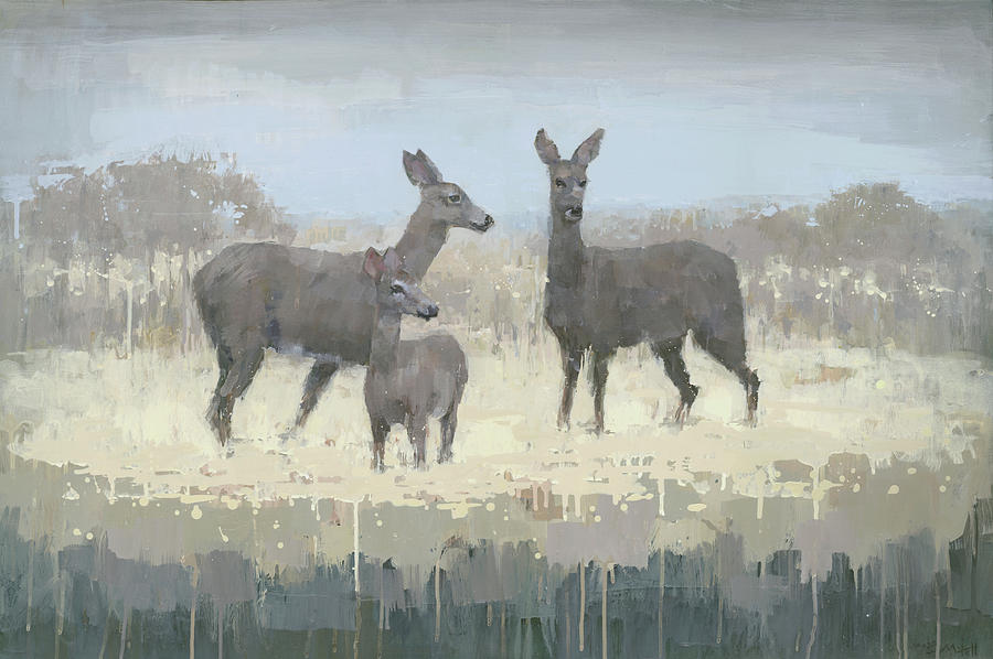 Deer Painting - Deer Family In A Field Of Yellow by Steve Mitchell