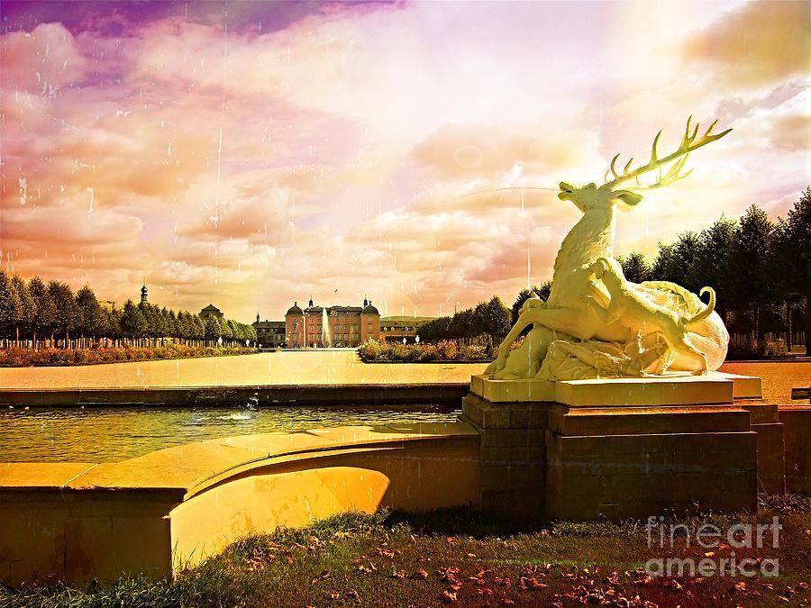 Deer Digital Art - Deer Fountain by Jurgen Huibers