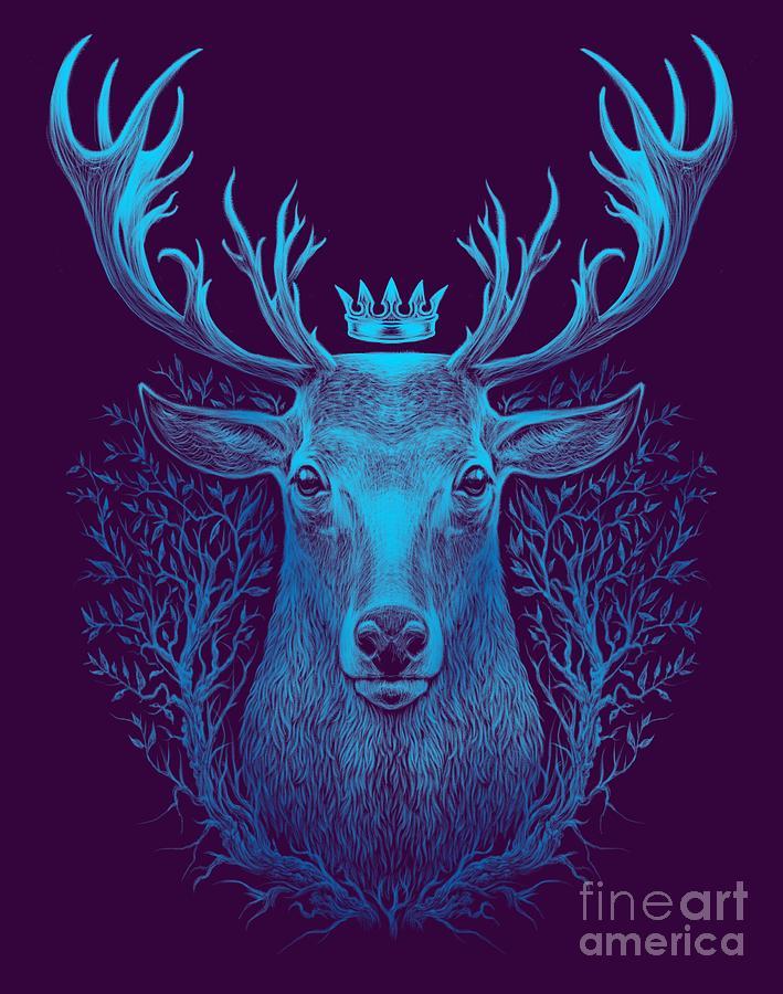 Magic Digital Art - Deer Head. Graphic Illustration Of A by Barandash Karandashich
