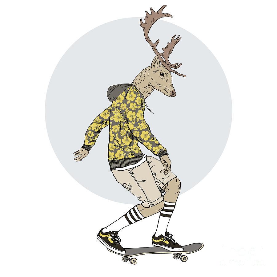 Fancy Digital Art - Deer Man On Skateboard Furry Art by Olga angelloz