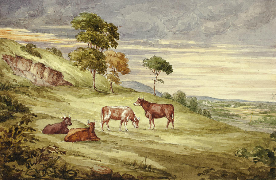 English Painters Drawing - Deer Park, Possibly Kilkenny by Elizabeth Murray