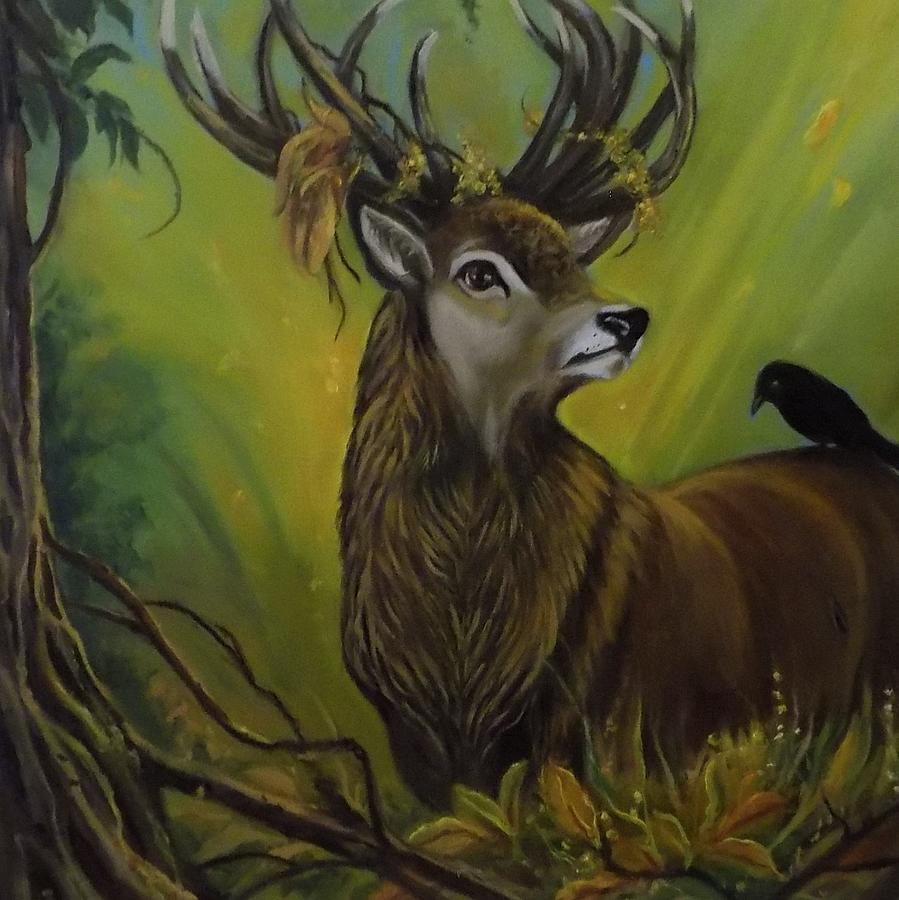 Wildlife Painting - Deer Stag And The Crow by Janet Silkoff