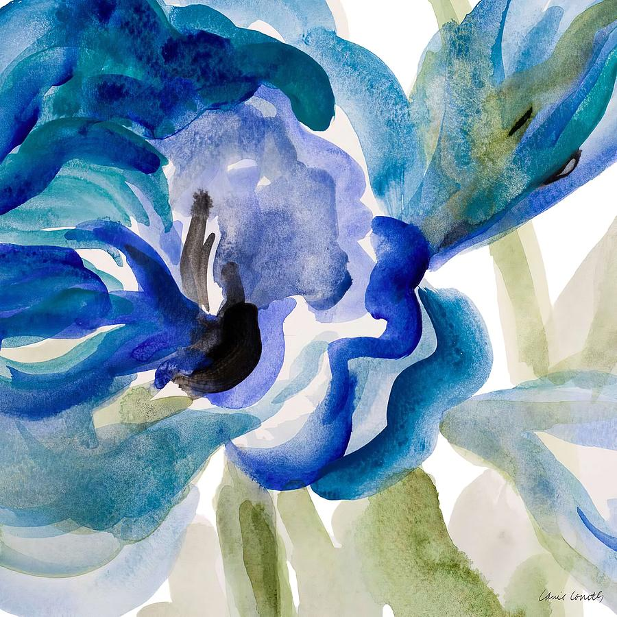 Floral Painting -  Delicate Blue Square I    by Lanie Loreth