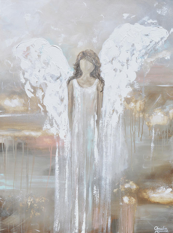 Delicate Strength - Angel Painting by Christine Bell