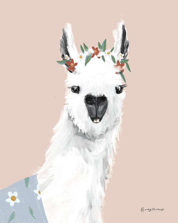 Alpacas Painting - Delightful Alpacas I by Becky Thorns