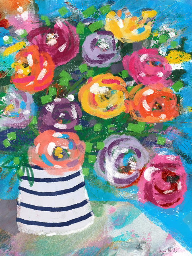 Flowers Mixed Media - Delightful Bouquet 6- Art By Linda Woods by Linda Woods