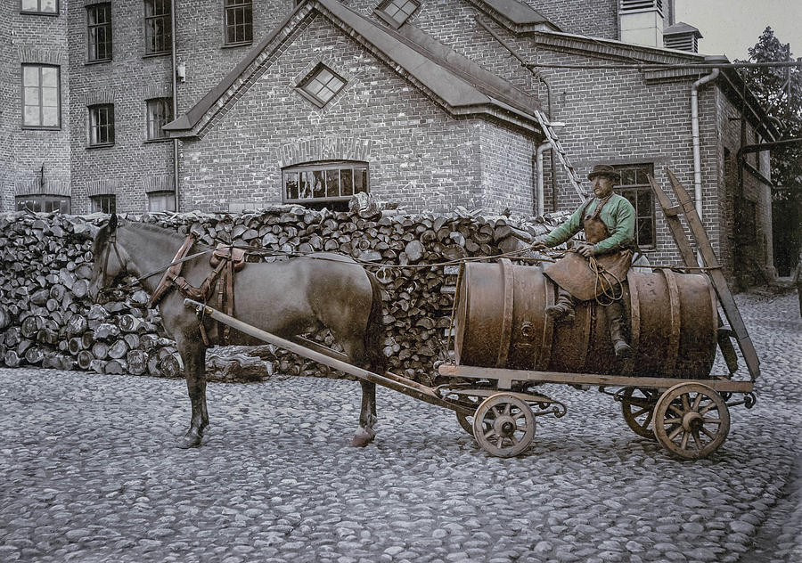 Delivering Beer In Helsinki  Ab. 1900 Painting