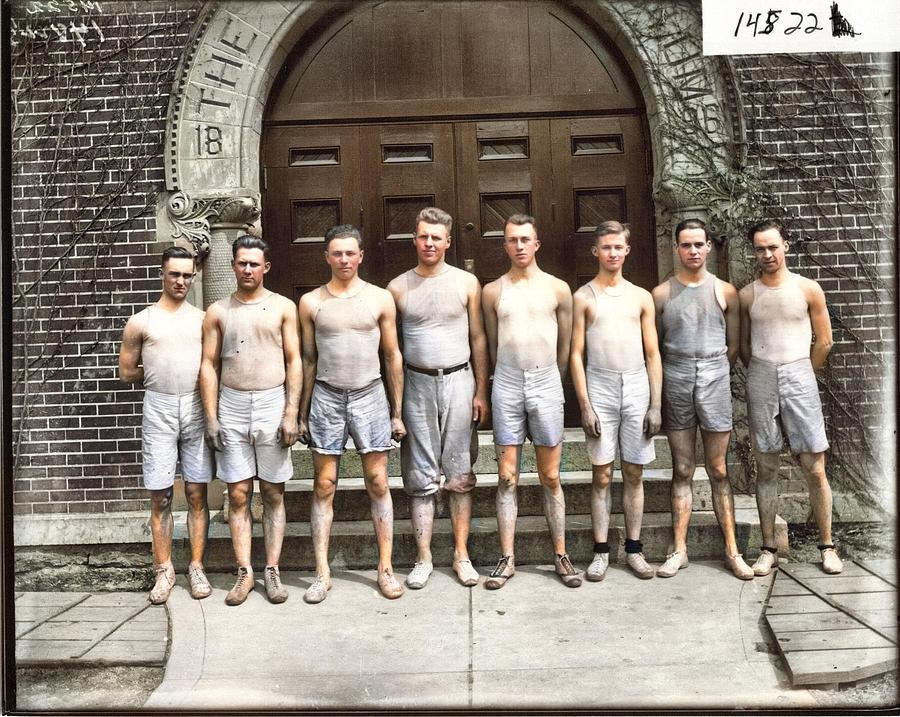 Delta Kappa Epsilon Track Team Group Portrait 1915 Colorized By Ahmet Asar Painting