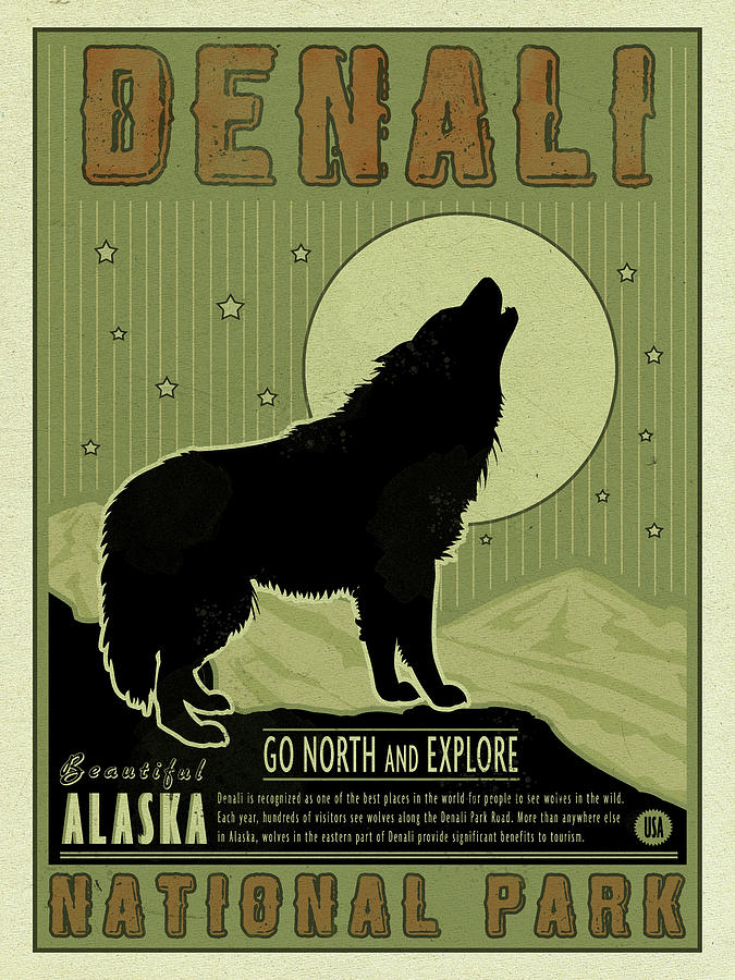 Denali National Park Mixed Media - Denali Wolf by Old Red Truck