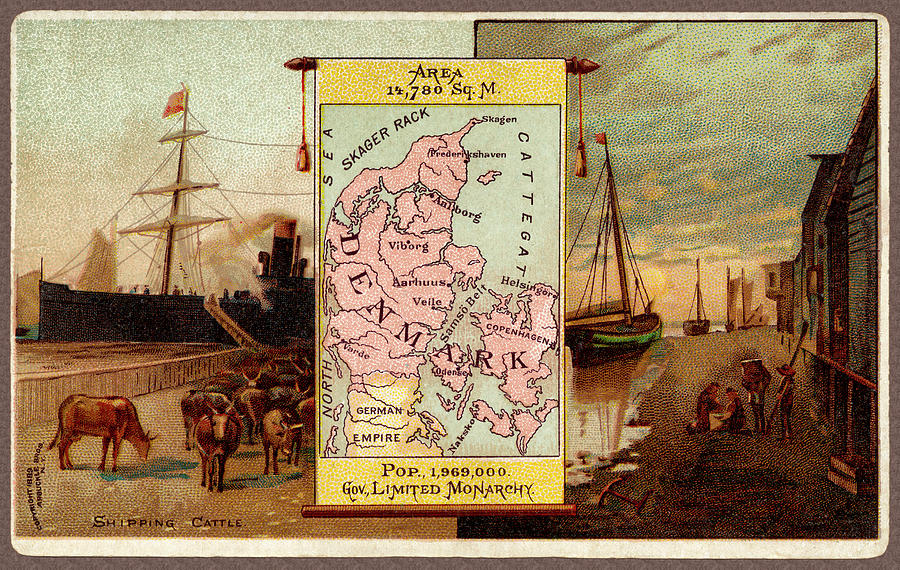 Denmark Map From 1889 Advertising Card by Phil Cardamone