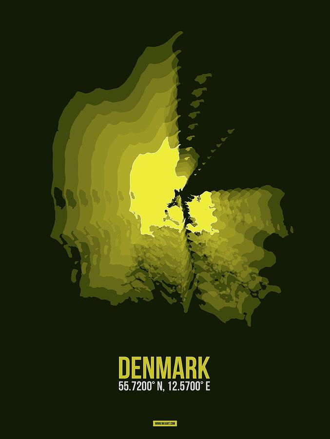 Map Of Denmark Digital Art - Denmark Radiant Map I by Naxart Studio